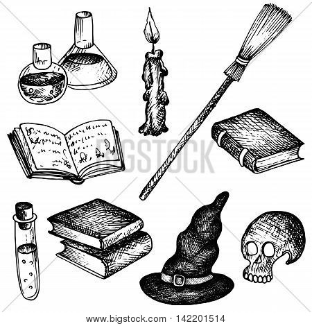 vector magic set, human skull and blakc hat, magician books and broom, candle and flack with poisons, cartoon halloween symbols, hand drawn illustration, isolated design element