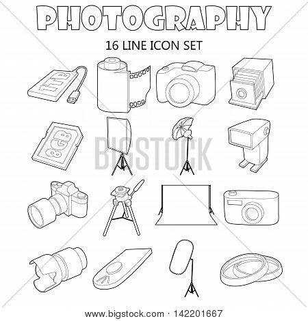 Outline photography icons set. Universal photography icons to use for web and mobile UI, set of basic photography isolated vector illustration