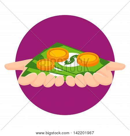 Vector Illustration of Hands showing Money Icon