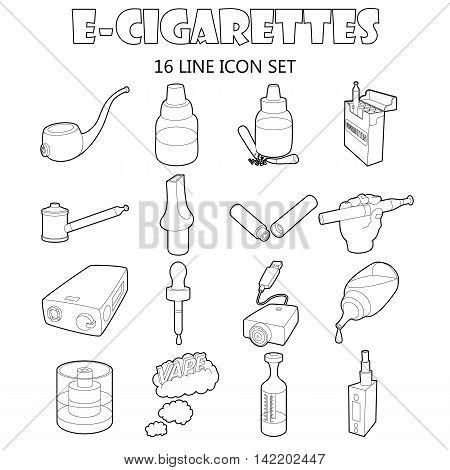 Outline e-cigarettes icons set. Universal e-cigarettes icons to use for web and mobile UI, set of basic e-cigarettes isolated vector illustration