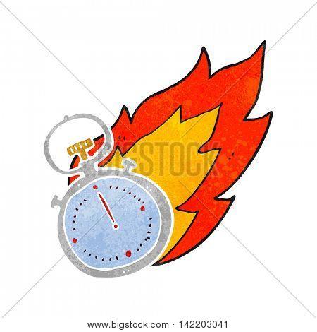 freehand retro cartoon flaming stop watch