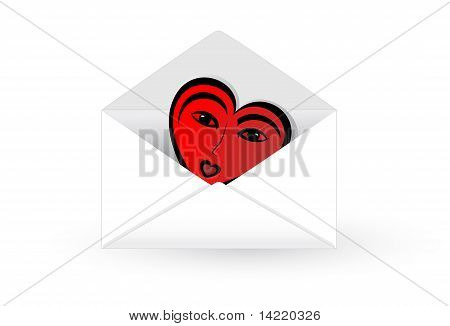 Mail Envelope With Abstract Heart