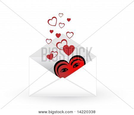 Mail Envelope With Hearts