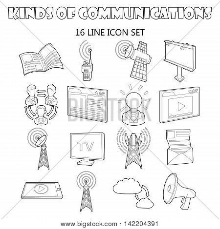 Outline communication icons set. Universal communication icons to use for web and mobile UI, set of basic communication elements isolated vector illustration