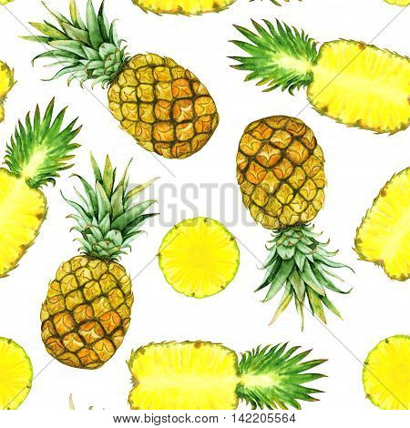 Seamless pattern with hand drawn watercolor pineapples and pineapple slices
