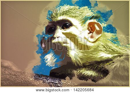 A Yellow monkey lying up on a tree branch. Vintage painting, background illustration, beautiful picture, travel texture