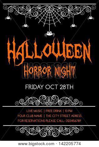 Halloween poster flyer or invitation design template. Vector illustration.