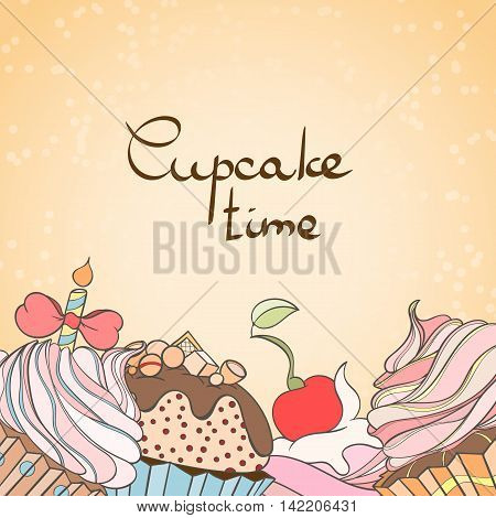 Cupcake card. Invitation of sweat cupcakes. Cupcake background can be used as invitation card for wedding, birthday and other holiday and summer background. Vector illustration.