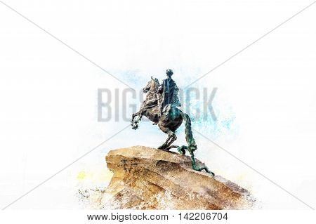 The Bronze Horseman - equestrian statue of Peter the Great in Staint-Petersburg, Russia. One of the major tourist attractions. Modern painting, background illustration.