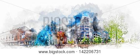 Eindhoven, Netherlands - May 24, 2015: Digital watercolor painting of old Philips factory building and modern futuristic architecture in the city centre of Eindhoven. Western Europe