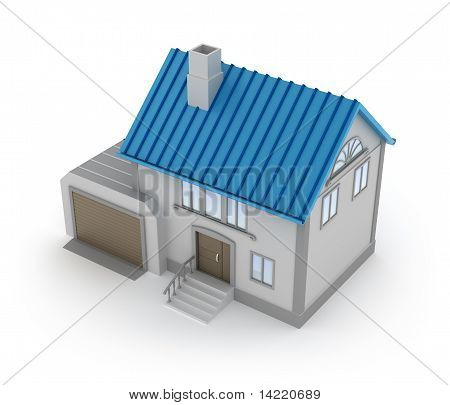 Concept of house with garage top view isolated on white