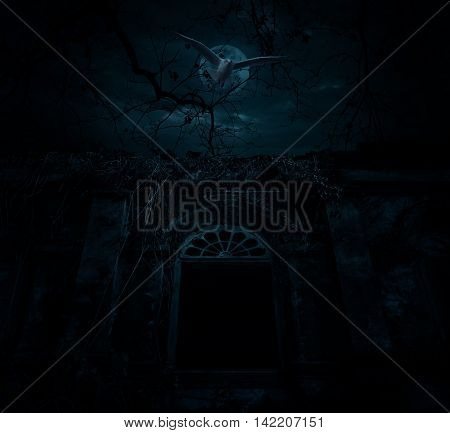 Bird flys over old ancient castle with dead tree moon and cloudy sky Spooky background Halloween concept