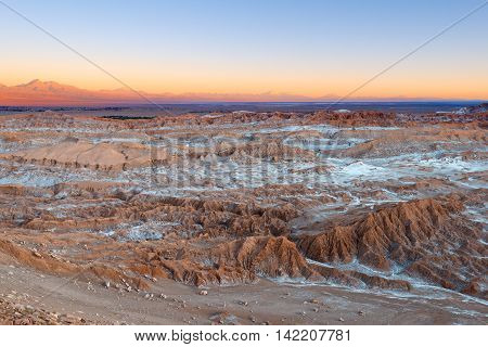 View of Valle de la Luna (Moon Valley) Cordillera de la Sal (salt mountain range) Atacama Desert Chile