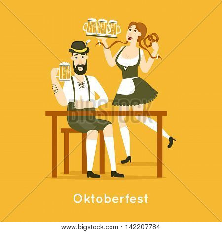 Oktoberfest characters. Bavarian man and woman with beer. Folk costumes. Poster. Flat design vector illustration.