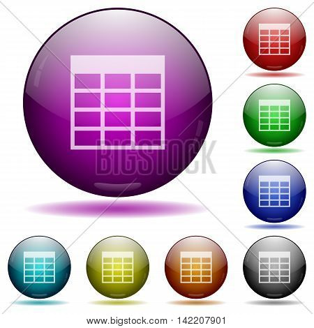 Set of color Spreadsheet table glass sphere buttons with shadows.