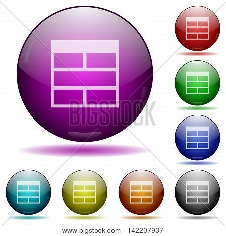 Set of color Spreadsheet horizontally merge table cells glass sphere buttons with shadows.