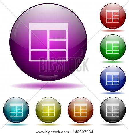 Set of color Spreadsheet vertically merge table cells glass sphere buttons with shadows.