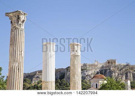 View of Acropolis from Monastiraki Square in Athens