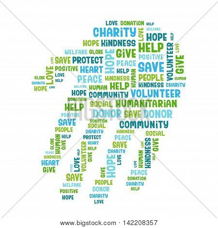 Concept word cloud containing words related to charity, love, health care, kindness, human features, positivity, volunteering, donations, help in the shape of the hand. Handwritten vector font.