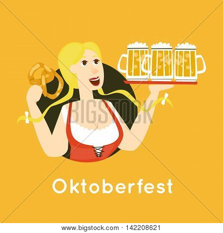Oktoberfest characters. Bavarian woman with beer. Folk costumes. Poster. Flat design vector illustration.