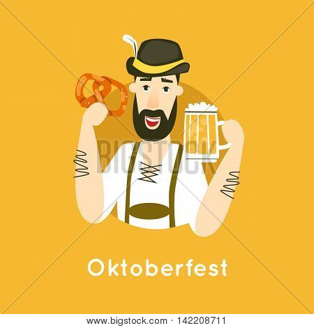 Oktoberfest characters. Bavarian man with beer. Folk costumes. Poster. Flat design vector illustration.