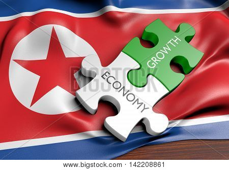 North Korea economy and financial market growth concept, 3D rendering