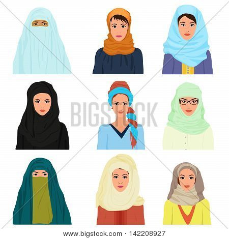 Vector arabian arabic islamic Female woman character faces avatars in different clothes and hair styles
