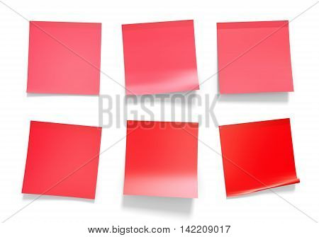 Set of red office sticky notes for reminders and important information, 3D rendering