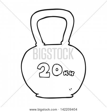 freehand drawn black and white cartoon 20kg kettle bell
