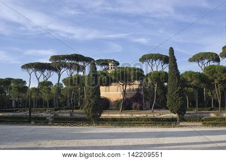 ROME ITALY - AUGUST 2 2016: The Piazza di Siena located in the villa Borghese public park hosted the equestrian dressage and the jumping part of the eventing competition for the 1960 Summer Olympics.