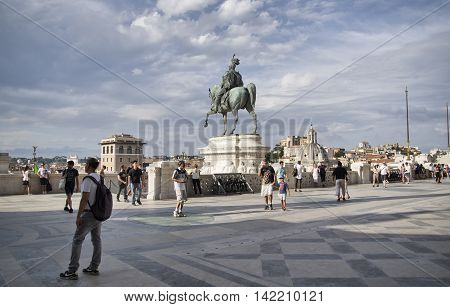 ROME ITALY - AUGUST 5 2016: people on the terrace of the Victor Emmanuel II monument The Vittoriano in Venezia square