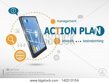 Action Plan Concept And Realistic Smartphone Black Color.