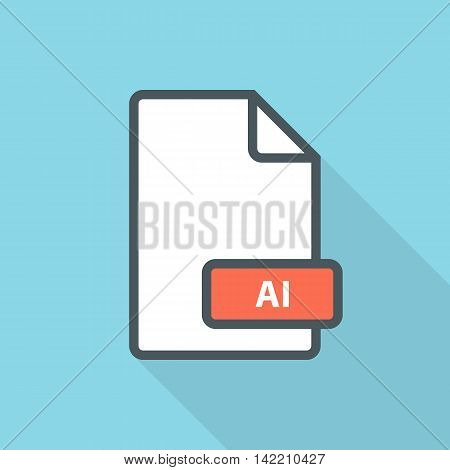 AI file format line icon with long shadow. Vector illustration.