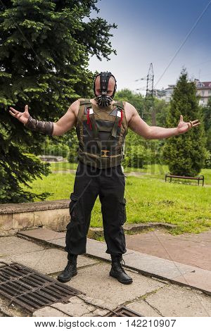 Lviv Ukraine - May 232015: Man dressed in the style of the strongman performs at the festival cosplay Anicon in Lviv May 23.2015