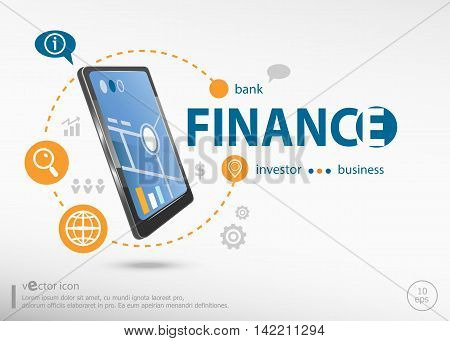 Finance Concept And Realistic Smartphone Black Color.