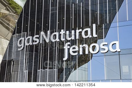 BARCELONA SPAIN - JULY 4 2016: Closeup of office building of Gas Natural fenosa is a Spanish natural gas utilities company. The firm is headquartered located in Barcelona.