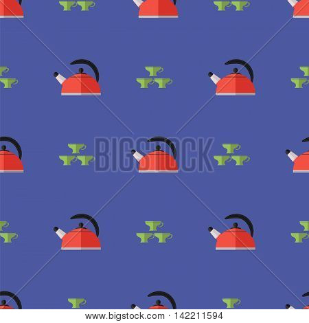 Kitchen Kettle Seamless Pattern. Set of Green Cups.
