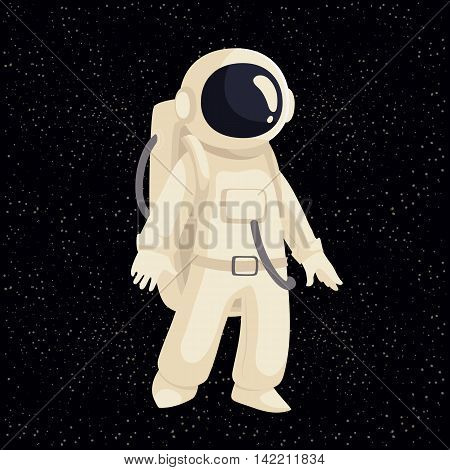 Cartoon astronaut in open cosmos illustration. Cosmonaut floating in space. Illustration of cosmos traveler, galaxy explorer, astronaut suit science and technology