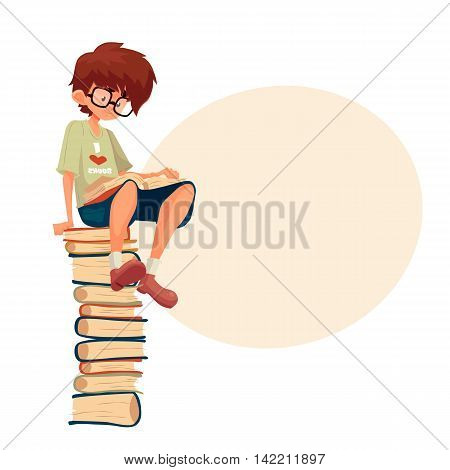 Little brown haired boy in glasses sitting on a pile of books and reading, cartoon style illustration isolated on white background. Smart kid, school nerd reading a book. Library,