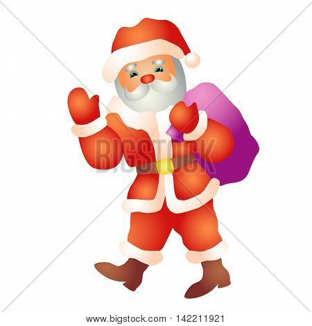 Santa goes with a bag in profile isolated vector illustration