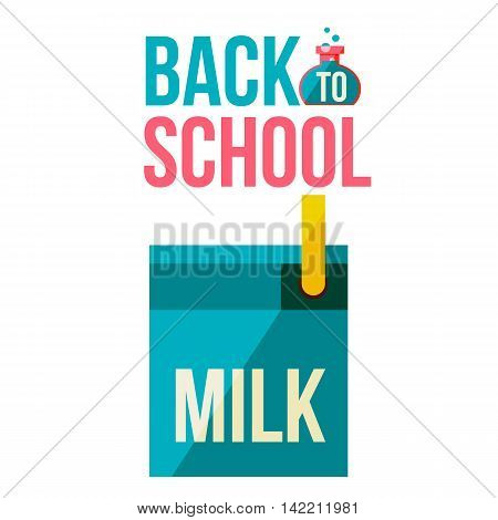 Back to school poster with milk box, flat style illustration isolated on white background. Start of school season concept, poster card design with milk box as symbol of educational process