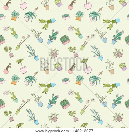 Seamless cactus pattern can be used for wallpaper, website background, wrapping paper. Cactus natural bright pattern. Summer design. Flower concept.