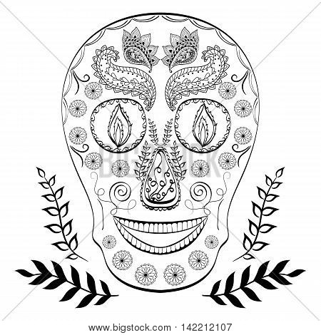 Doodle skull. Hand drawn human skull. Colouring pages. Halloween.