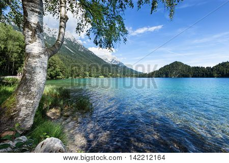 Place to relax at a mountain lake. AustriaTyrol Hintersteiner Lake