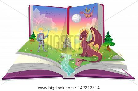Book of fairytales with knight and dragon vector illustration