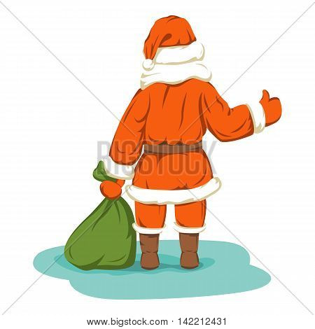 Santa with bag rear view Hitchhiking vector illustration isolated