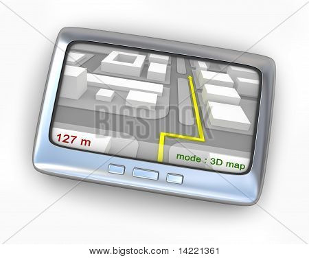 GPS navigator with route front view isolated on white
