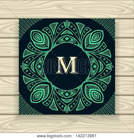 Decorative ornamental frame in vintage style emerald on black  or Template  of monogram advertising cosmetic perfumer  clothes or for decorate other things
