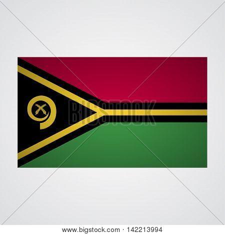 Vanuatu flag on a gray background. Vector illustration