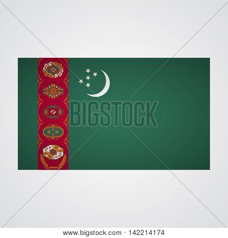 Turkmenistan flag on a gray background. Vector illustration